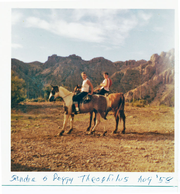 Sandy & Peggy riding in BBNP 1958