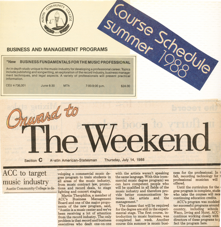 1988 press information about the ACC Commercial Music degree program