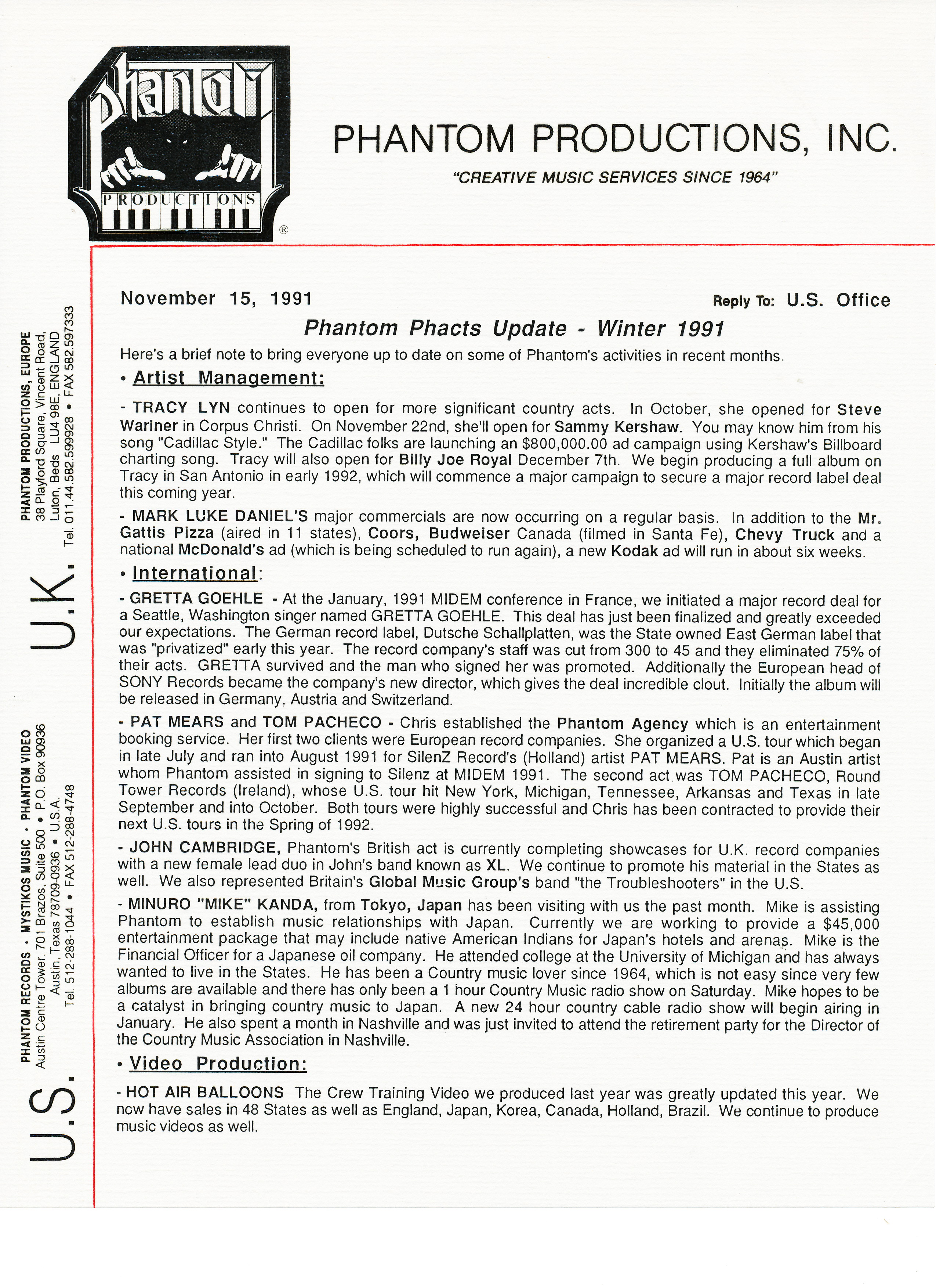 Phantom's Winter 1991 Newsletter