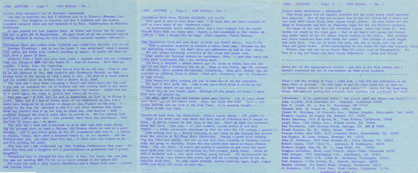 1980 Marfa Army Air Base Link Letter produced by Oliver Theophilus