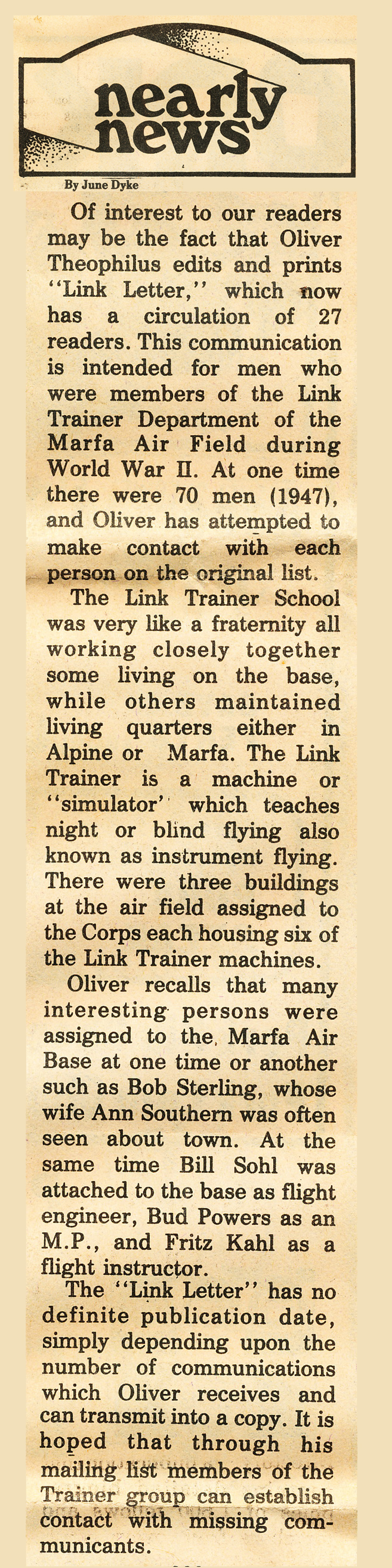 1980 Marfa Army Air Corps LinkLetter