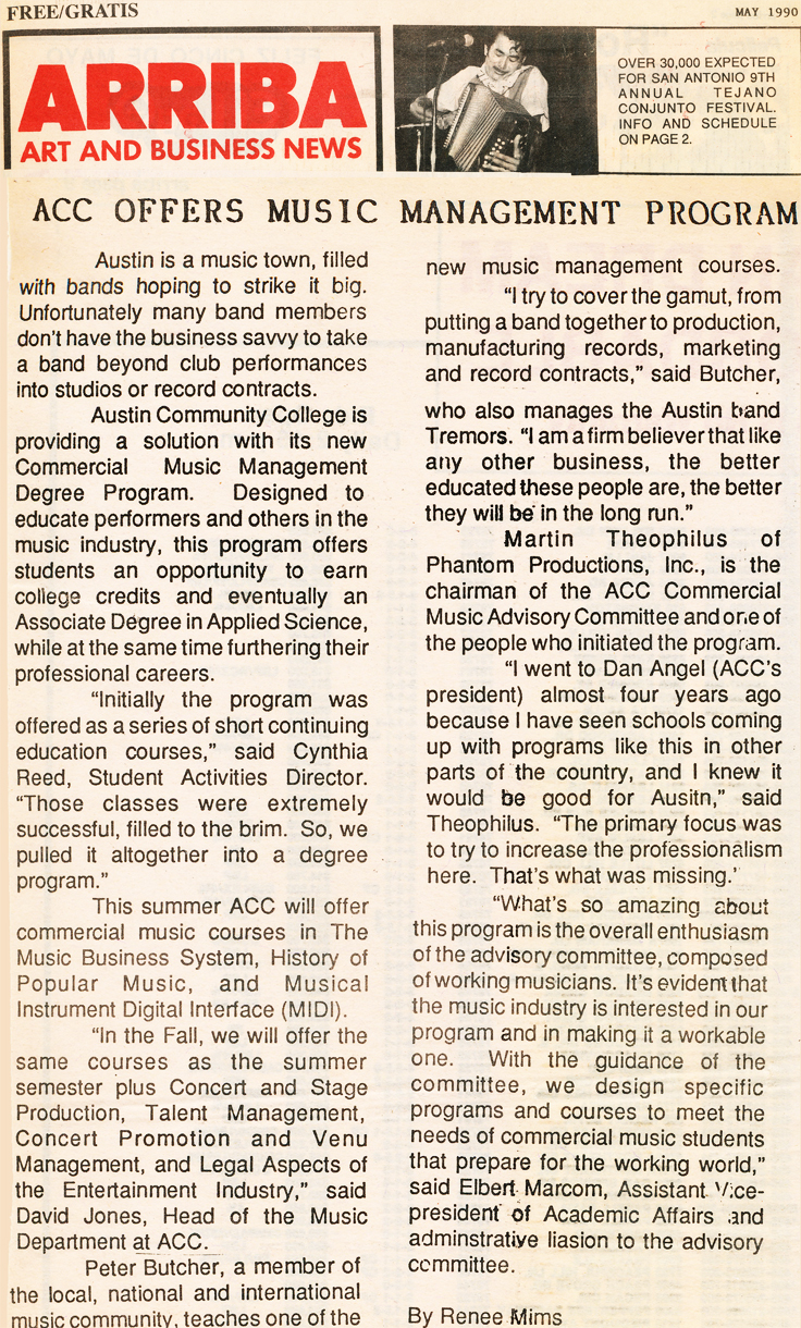 May 1990 Arriba summary about the ACC Music Degree program