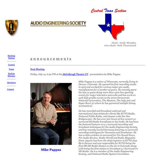 Central Texas Audio Engineering Web Home Page