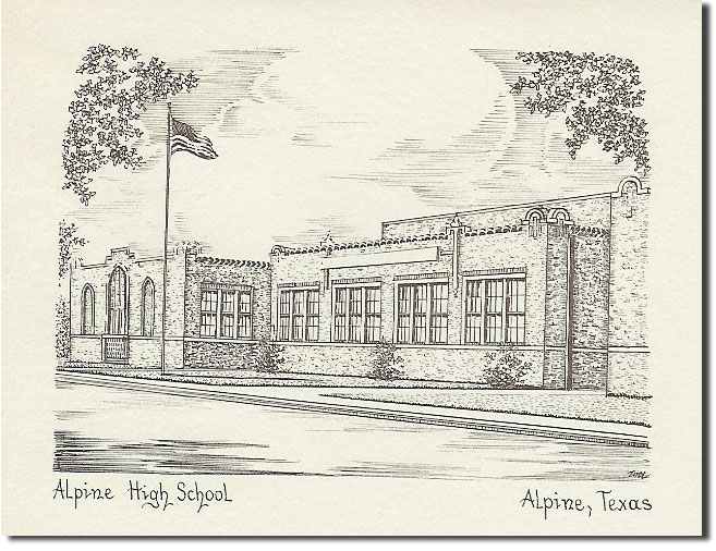 picture of drawing of Alpine High School in the '60s