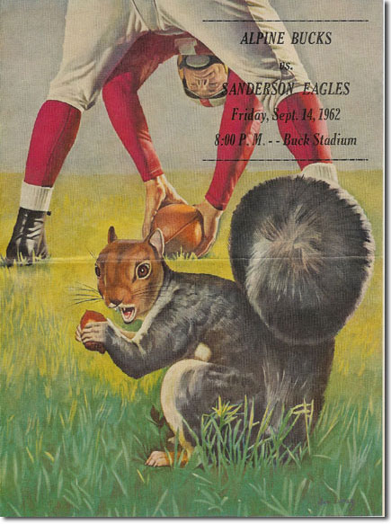 picture of program from Alpine Sanderson football game 1962