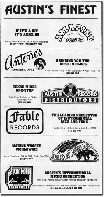 Austin ads from the Billboard issue spotlighting Austin music in 1989