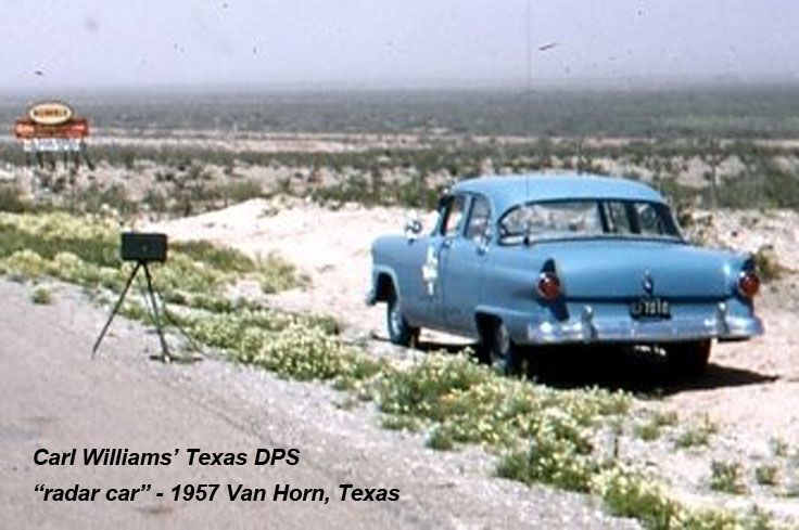 "Carl Williams' 1957 Texas Department of Public Safety ""radar car"" near Van Horn,Texas"