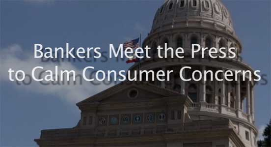 Texas Capitol with word Bankers Meet the Press to Calm Consumer Concerns from Phantom Productions' video for the independent Bankers Association of Texas