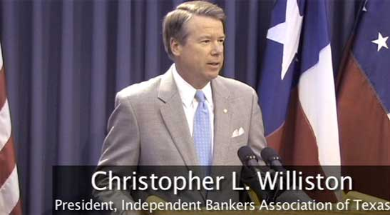Chris Williston picture from Phantom Productions' video for the independent Bankers Association of Texas