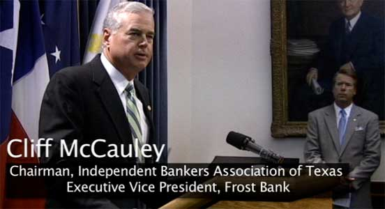 Cliff McCauley picture from Phantom Productions' video for the independent Bankers Association of Texas