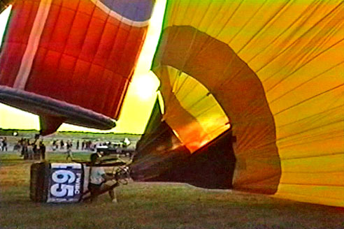 balloons inflating near Ft. Worth, Texas