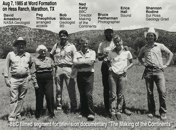 "Mom with Ned Kelly and BBC production team on the Hess Ranch for film segment of the BBC production ""Making of the Continents"""