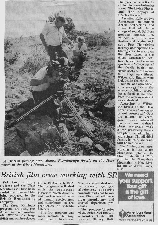 British BBC film crew filming fossils on the Hess Ranch near Marathon, Texas.  Access to the ranch was coordinated by Martin's Mom, Margaret Theophilus.