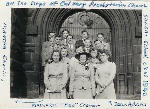 picture of Peg Theophilus (Martin's Mom) in 1940 on the steps of the Cleveland, OH Calvery Presbyterian church with her Sunday school class.