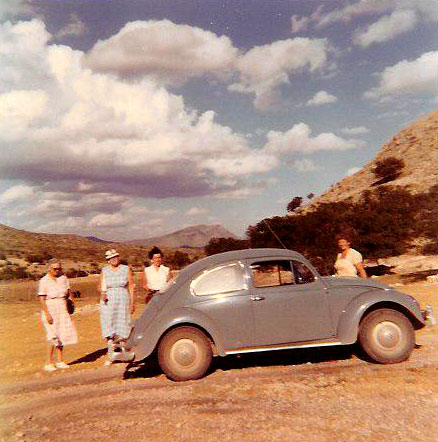 Peg (Martin's Mom right) with family Volkswagon 1958 - Martin learned to drive in this car and a Volkswagon bus.