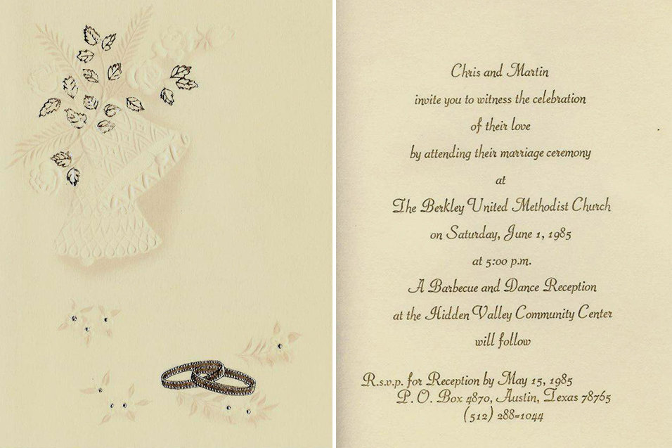 Chris Martin 39s wedding invitation for June 1 1985 in Austin Texas