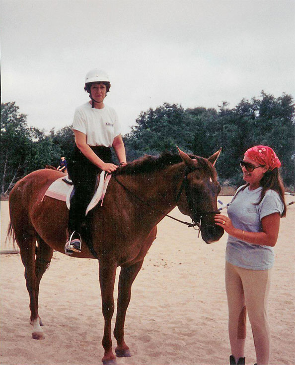 Chris & Bev at Bunnie's talking English riding lessons.  Chris joining Beverly for the lessons resulted in Chris acquiring Dancer and rekindled her horsey personality.