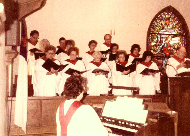 "picture of Martin's Mom ""Peg"" in Alpine First Presbyterian Church Choir"