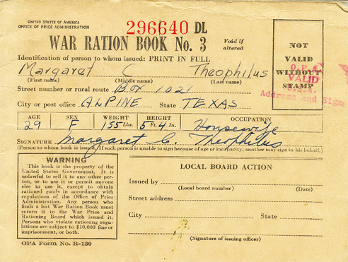 Theophilus family's World War II ration books