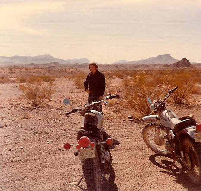 Martin riding cycles in Big Bend with George Jones