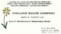 Martin's Highland Sound company business card from El Paso, Texas