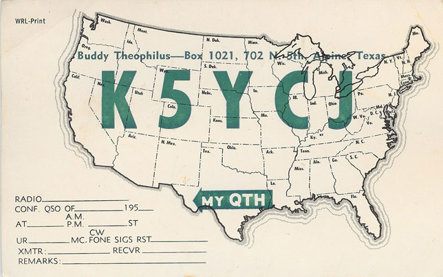 Martin's QSL card for KN5YCJ