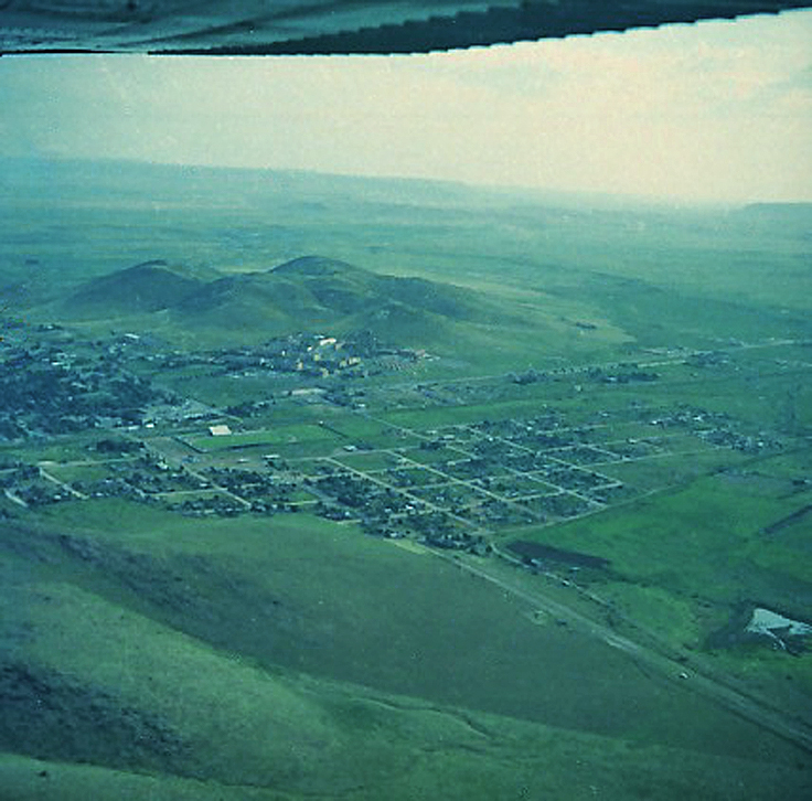 Alpine, Texas from the air in 1966