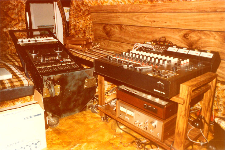 This is a picture of the Teac 80-8 and mixer set-up in the back of Phantomm's van.