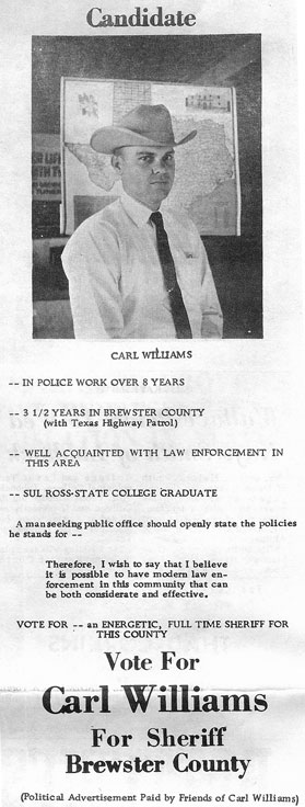 Carl Williams' ad in the April 30, 1964 Alpine Avalanche