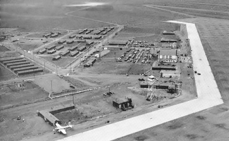 Aerial view of Marfa Army Air base in 1945