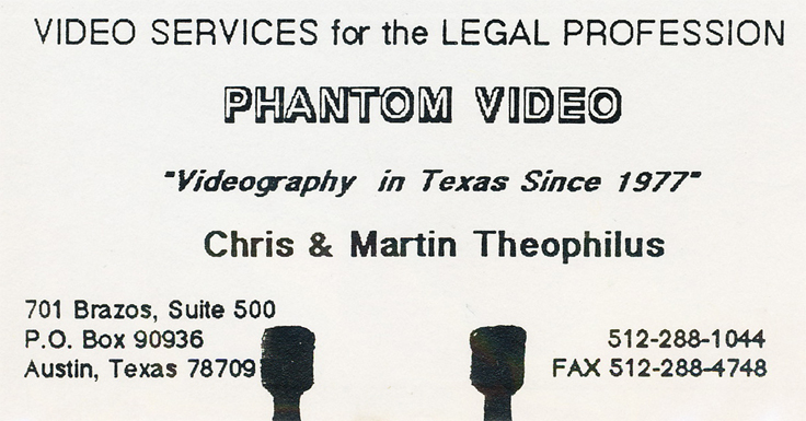 Phantom Productions' legal video services in 1990