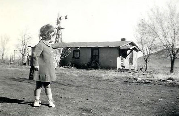 picture of Peggy in Alpine near original house 1943