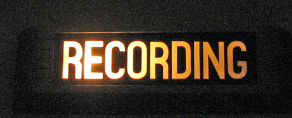Recording sign at Phantom productions' studio East of Austin, Texas