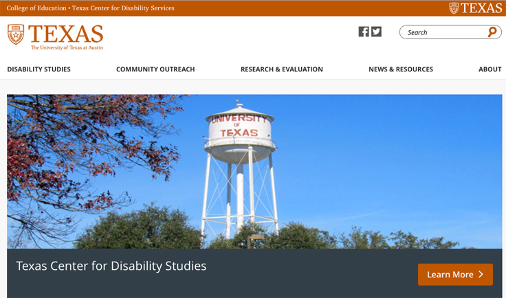 Screenshot of the Texas Center for Disability Studies web home page