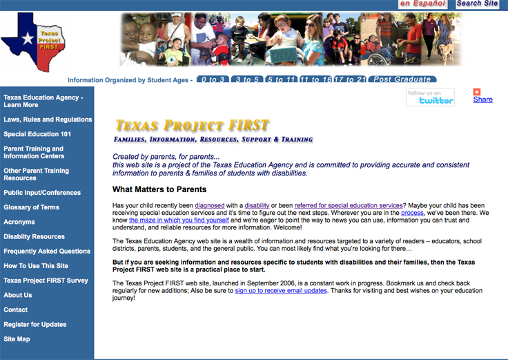Screenshot of the Texas Project FIRST web home page