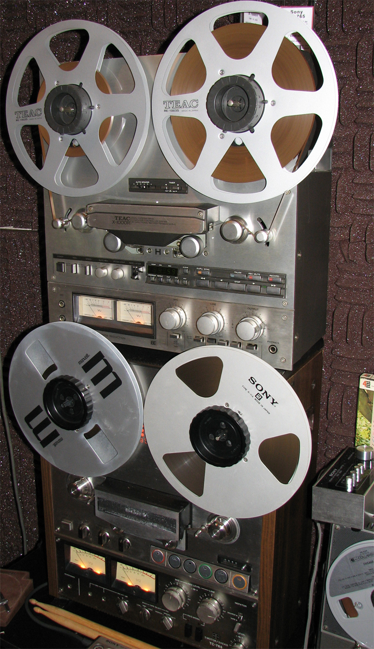 Teac X-1000R & Sony TC-765  reel tape recorders in the Phantom Productions' vintage recording collection