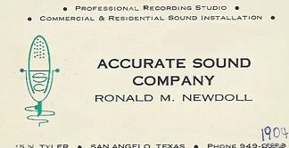 picture of Ron Newdoll's business card for Accurate Sound in San Angelo