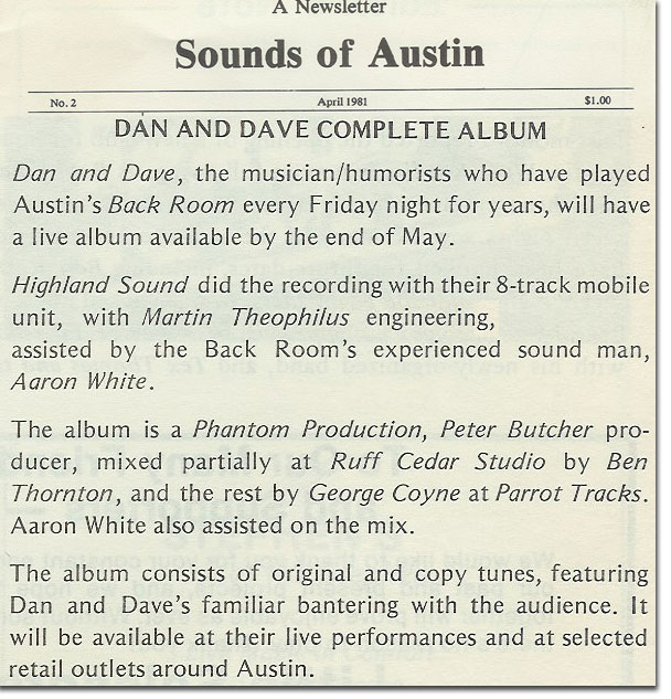 picture of article on Dan&Dave's album