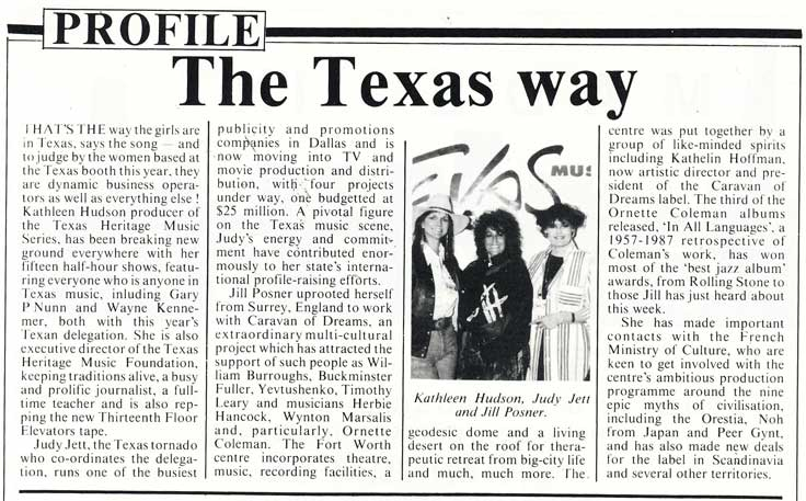 Caravan of Dreams staff were also part of the 1988 Texas Midem delegation