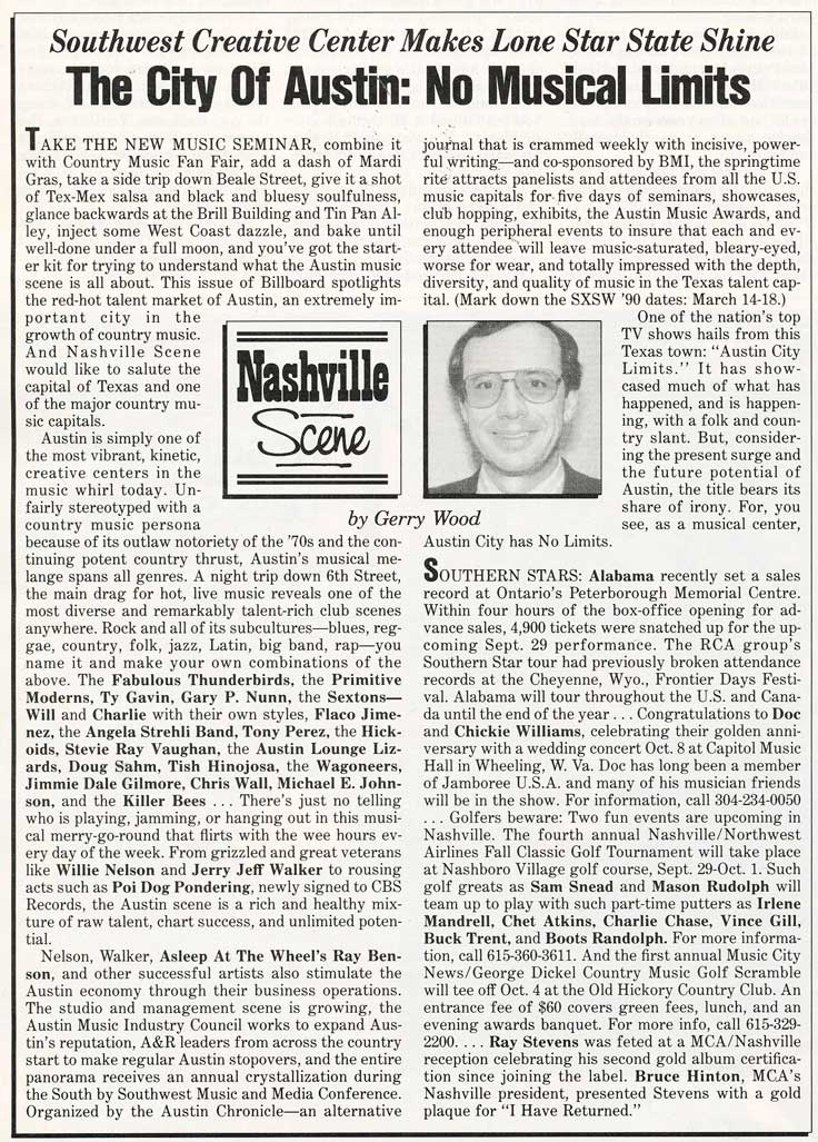 Review of Austin, Texas' music scene by Billboard September 9, 1989 in Phantom Productions' vintage recording collection