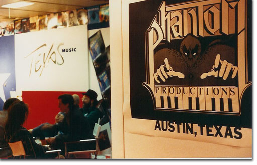 Phantom productions' logo at the Texas stand attending Midem