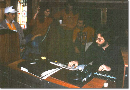 picture of Tracie Lynn with her sister and brother and Fred Remmert recording at Cedar Creek Studios