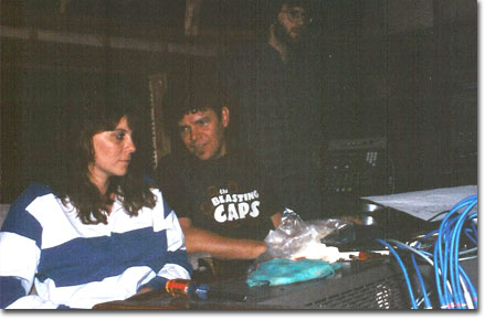 picture of Tracie Lynn with james Hinkle and Fred Remmert recording at Cedar Creek Studios