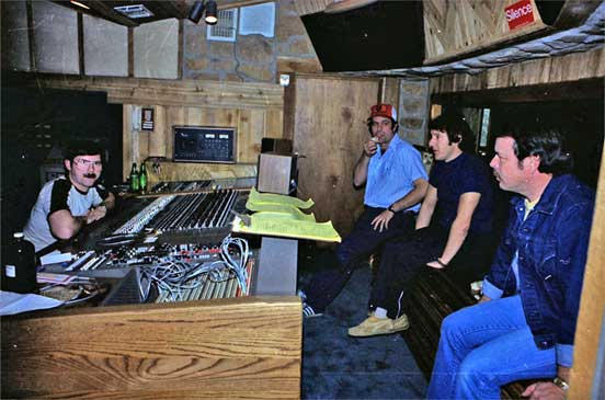 Ben, Dave, Peter Butcher, Dan at Cedar Creek  recording studio mix session
