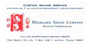 Martin Highland Sound business card
