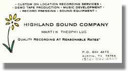 Highland Sound business card when Martin first came to Austin