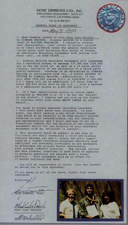 Mark Luke Daniels Gene Simmons Kiss Rca Record Contract