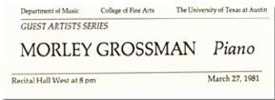 business card from Morley Grossman, pianist, The University of Texas