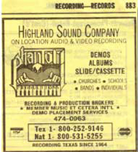Highland Sound and Phantom productions yellow page ad