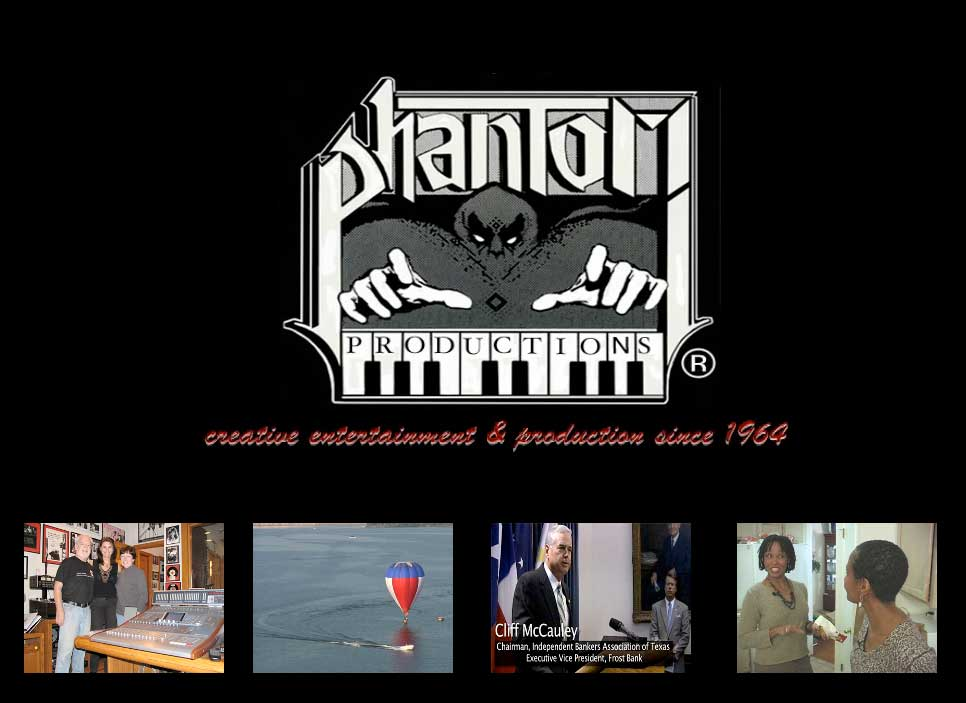 Phantom Production's logo with 4 small pictures below showing the Phantom Studio, entertainment and hot air balloon DVDs